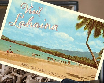 Vintage Postcard Save the Date (Lahaina, HI) - Design Fee