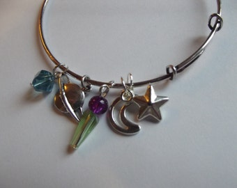 Out of This World Bangle Charm Stackable Bracelet Purple Blue Green Planet Star Moon
