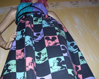 Mickey Mouse Dress Upcycled Black Purple Blue OOAK Vtg Fabric Disney Resort Cruise Sundress Mom Party Adult S M L XL Plus Convertible Dress