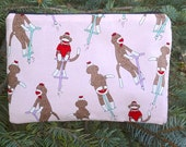 Sock Monkey zippered pouch, makeup case, zippered pouch, accessory bag ,Sock Monkey on Pogo Stick, The Scooter
