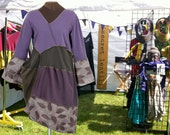 The Plum Tree Dress: upcycled reconstructed purple brown and pink