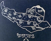 Pack of 5 postcards featuring an illustrated map of Somerville, Massachusetts.