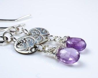 Amethyst Birthstone Silver Swirl Earrings