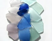 Genuine Found Sea Beach Glass, Seaglass - Mix of Blues and Pastel Colors - Craft Lot for Art, Mosaics, Some Jewelry