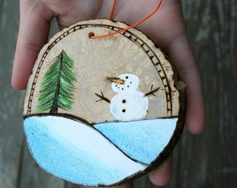 WOOD BURNED and hand painted SNOWMAN ornament Christmas gift winter scene package topper can be personalized