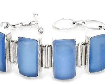 Sale: Blue Chalcedony and Sterling Silver Bracelet
