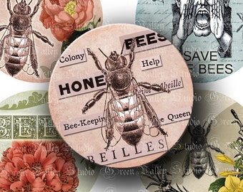 INSTANT DOWNLOAD Two Digital Images Sheets Save The Bees Beekeeping Queen Bee Antique 3 Inch Circles for Crafts (CO8)