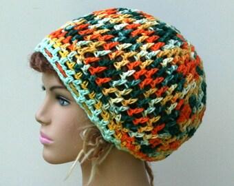 Cotton slouchy hat, snood small Tam cotton Hair wrangler beach hat Slouchy Beanie