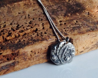 REDUCED Pewter Vintage Button Necklace, Pewter Necklace, Flora Necklace, Flower Necklace, Sterling Chain, Hand Cast, Etsy, Etsy Jewelry