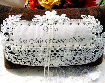 Scottish Kilt Wool & Antique Handmade  Lace Ring Pillow-Outlander Inspired-Rustic-One of a Kind-Edwardian Lace