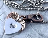 Layered hearts copper and aluminum hand stamped pendant necklace