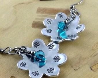 Blue Zircon Swarovski crystal hand stamped aluminum flower gunmetal french hook earrings