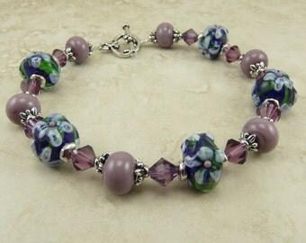 Mahalo Tropical Flower Lampwork Bead and Swarovski Crystal Bracelet > Hibiscus Hawaiian Blue Purple Lavender Lilac - I ship Internationally