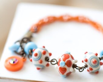 OOAK Colorful Lampwork Bracelet, Orange Coral Ivory and Light Blue Bracelet, Mother's Day Gift, BFF Gift, Gift for Her Mom Sister Aunt