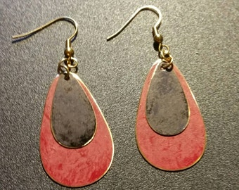 Crimson Red and Black Patina Teardrop Earrings