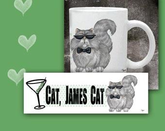 COFFEE MUG - Cat.. James Cat, Aristocratic Gray Persian Cat in Sunglasses