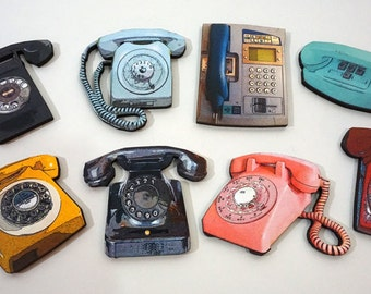 Wooden Vintage Telephone Craft Parts - Collection of 8 Wood Cuts