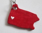 Red and White Pittsburgh Pennsylvania Necklace Glazed Ceramic on an 18 inch Silver Chain