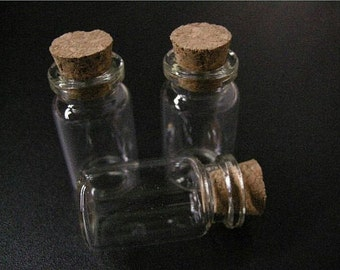 30pc 23x12mm clear glass little bottles with corks-Q2x3