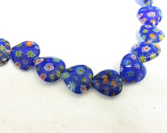1 strand 16mm heart shape Millefiori Glass Beads(approx 25 pc)-9795