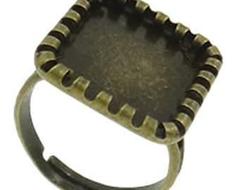 4pc antique bronze square adjustable ring shanks-9229