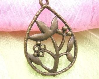 6pc antique bronze metal alloy pendant-3811