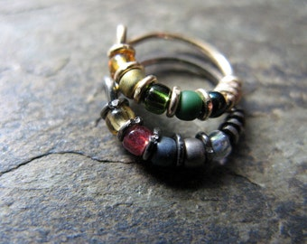 loki and thor hoop earrings-- beaded earrings or nose hoop set-- handmade by thebeadedlily