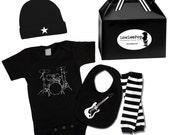 Punk Rock Baby Boy Rockstar Kit black romper one piece layette leg warmers hat Bib Guitar Drums Star