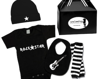 Punk Rock Baby Boy Rockstar Kit black creeper onesie leg warmers hat Bib T-shirt shirt Rockstar Guitar
