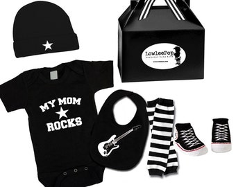 My Mom Rocks ROCKSTAR BABY KIT black onesie leg warmers hat Bib socks