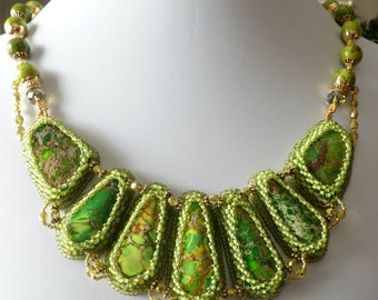 Jasper Beadwork Necklace, Lime Green Sea Sediment Jasper, Green Crazy Lace Agate, Bib Necklace, Beaded Necklace, Bead Embroidery