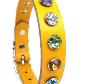Bright Yellow Leather Dog Collar with Colorful Crystals, Size S, to fit a 10-13in Neck, Small Dog, EcoFriendly, OOAK