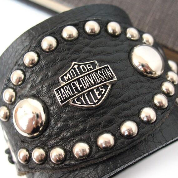 Biker Black Leather Cuff Bracelet Wristband With Silver Studs