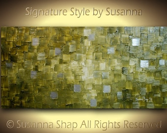 Abstract Art Original Olive Green Silver Abstract Painting on Canvas Textured Palette Knife Modern Painting 48x24 by Susanna