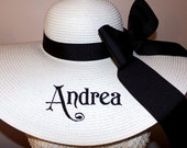 Personalized & Monogrammed Full Name Floppy Hat Wide Brimmed for Easter,  Wedding, Bridesmaid, Sun, Beach, Carolina Cup, Derby All Custom