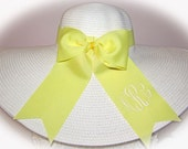 Monogrammed  Personalized Floppy Wide Brimmed Hat Sash Ribbon Style,  WHITE,  Wedding, Bridesmaid, Sun, Beach, Carolina Cup, Easter