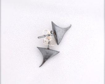 Oxidized Silver Rose Thorn Post Earrings Black Thorn Stud Earrings