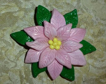 Pink Poinsettia Pin - C024