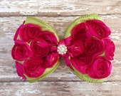 Fuchsia and Lime Green Rosette Bow Hair Clip, Children Bow Hair Clip, Dance Accessories, Photo Prop, School Pictures, Bridal, Flower Girl