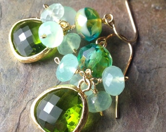 Aqua Chalcedony and Green Glass Bevel Earrings, Czech Beads, 14K Gold Fill