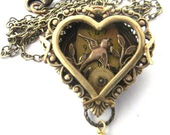 Sparrow Heart   ... Steampunk Sparrow   Creation , Victorian Heart Shadowbox, One of a Kind