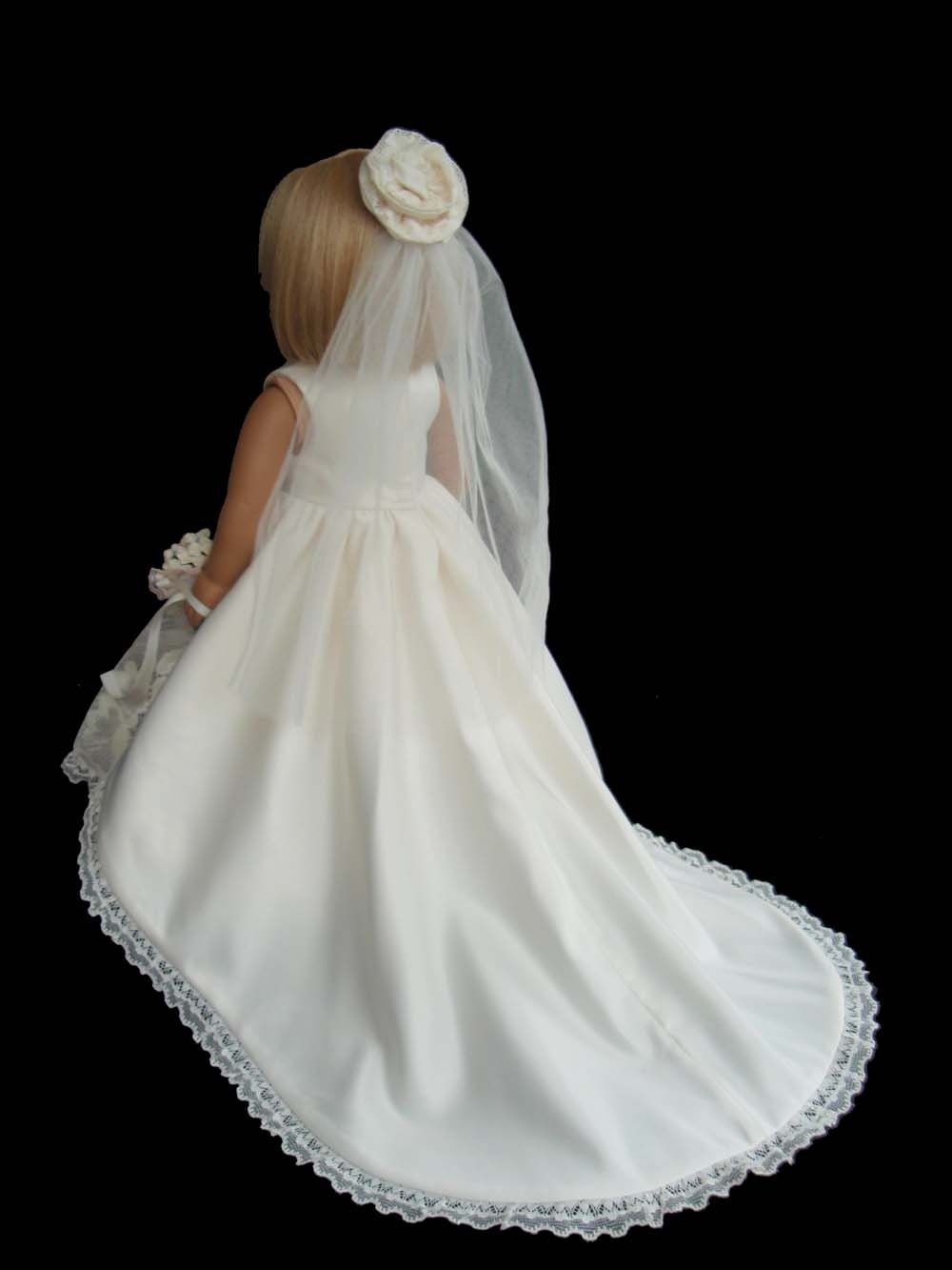American girl doll clothes wedding gown dress ivory satin and for American girl wedding dress