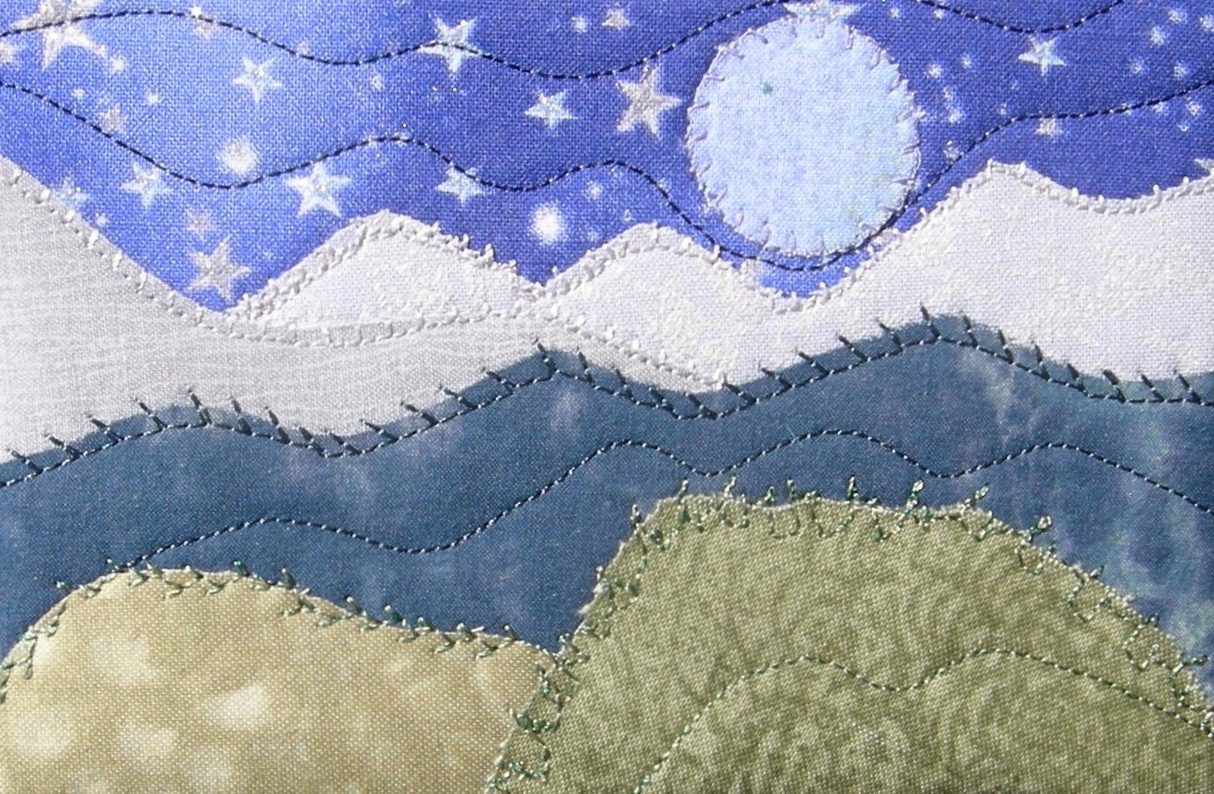 Moon and stars fabric postcard quilted fabric postcard for Moon and stars fabric