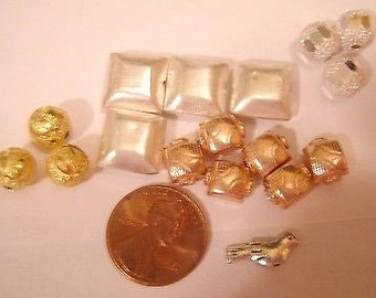 Assorted Square & Round Beads Copper, silver and gold plated asst sizes 17 pcs