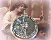 Guardian Angel antique BUTTON pendant, Victorian putti in silver. Antique button jewellery.