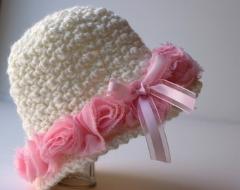 Crochet Hat Pattern Shabby Rose Trim Downton Abbey Inspired Cloche Flapper Hat 4 sizes Baby Hat No. 77