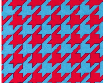 Clearance HALF YARD - Cosmo Textiles, Japanese Import, Blue and Pink Houndstooth
