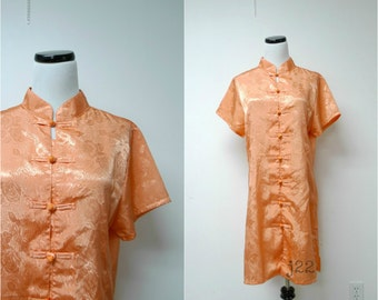 PEACH of MIND . with Tag . cheongsam with classic mandarin collar dress . large . made in USA