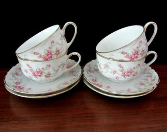 Hutschenreuther Richelieu Pink Roses Cups And Saucers From Bavaria. Set Of Four