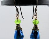 Seattle SEAHAWK Swarovski Crystal Brass Earrings - Ready to Ship